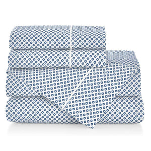Emma Sateen Sheets Stacked Blue geometrical pattern