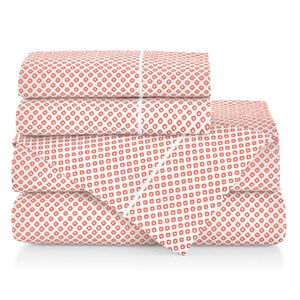 Emma Sateen Sheets Stacked Coral geometrical pattern