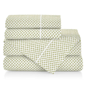 Emma Sateen Sheets Stacked Green geometrical pattern