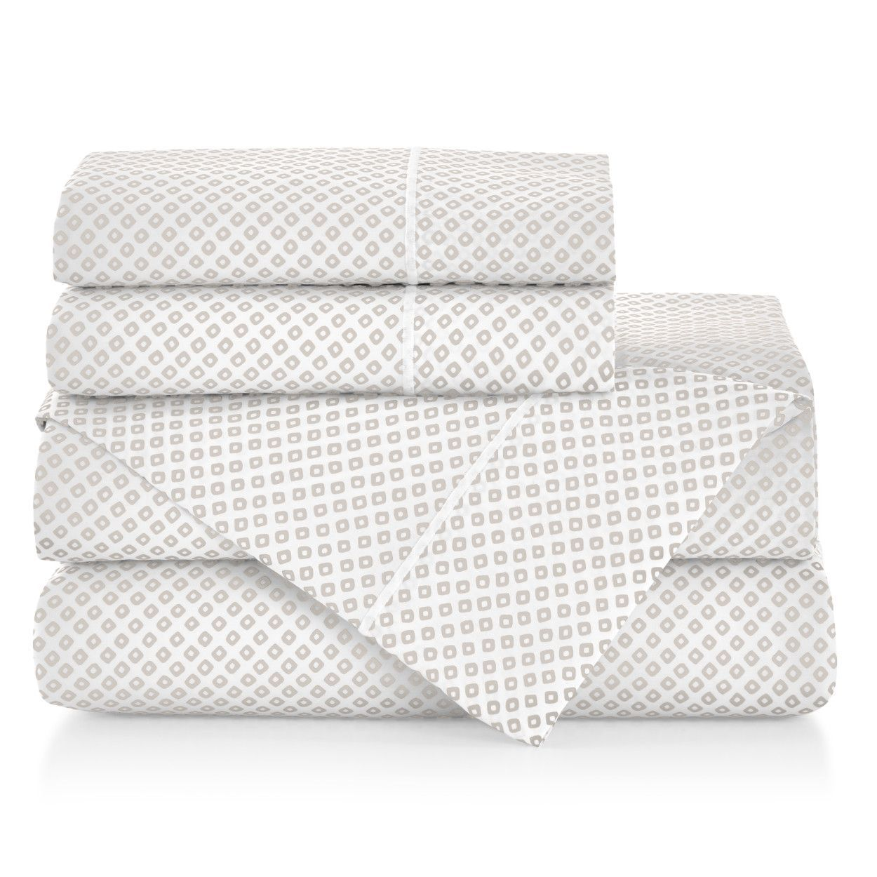 Emma Sateen Sheets Stacked Linen geometrical pattern