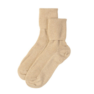ladies ribbed cashmere socks in natural