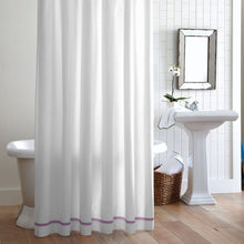 Load image into Gallery viewer, Hanging Pique Shower curtain Lilac Trim in bathroom