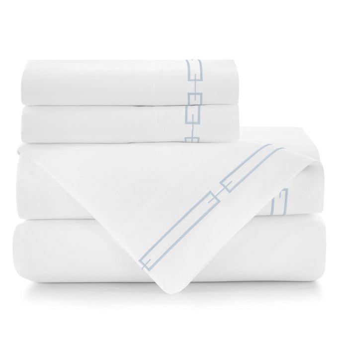 Stanza White Sheet Set Stacked Sky Embroidered Trim