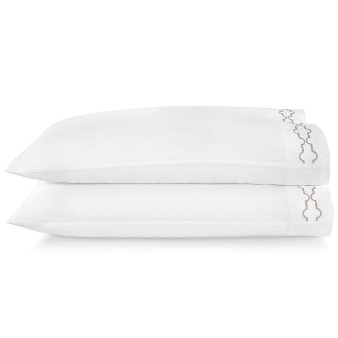 Tempo Embroidered Sateen Pillow Cases driftwood