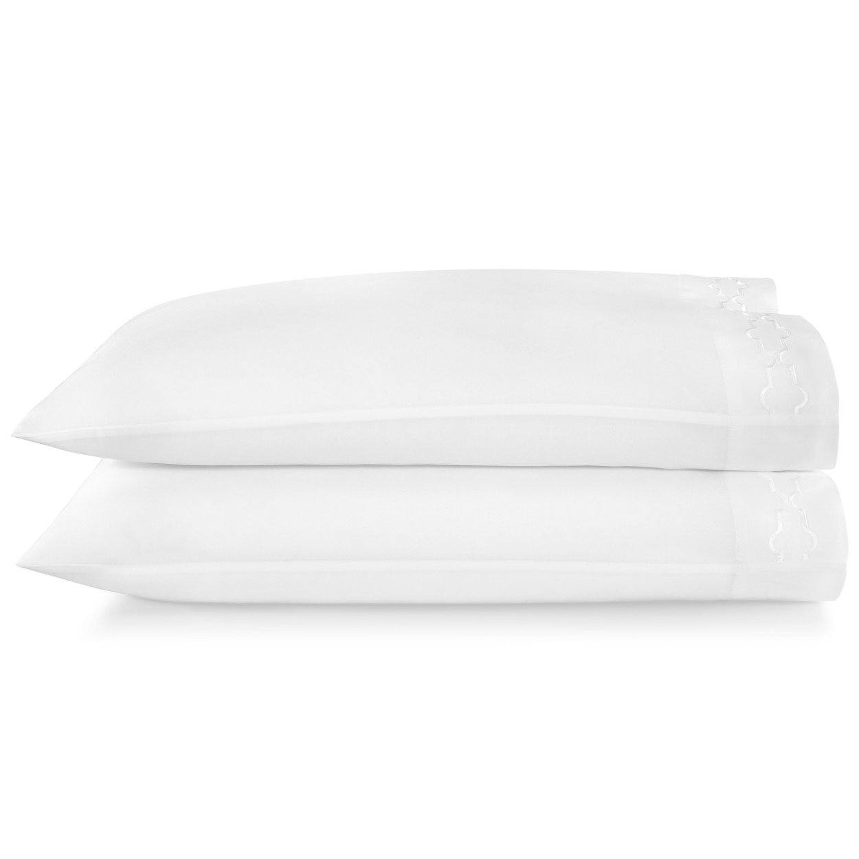 Tempo Embroidered Sateen Pillow Cases white