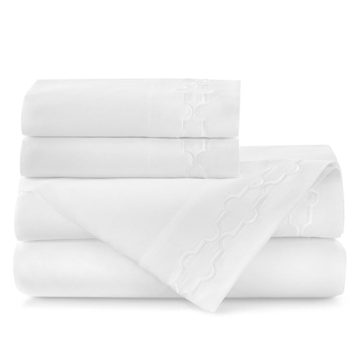 Tempo Embroidered Sateen Sheet Set white