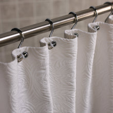 Load image into Gallery viewer, Detail of a white French medallion matelasse luxury shower curtain