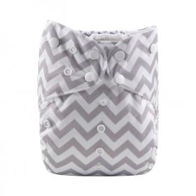 Alva Big Pocket Diaper - Grey Chevron - Happy BeeHinds