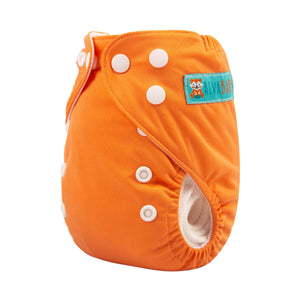 Alva Newborn Snap Pocket Diaper with Insert - Orange