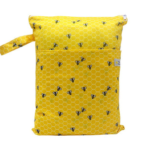 Double Pocket Wet Bag by Happy BeeHinds - Honey Comb