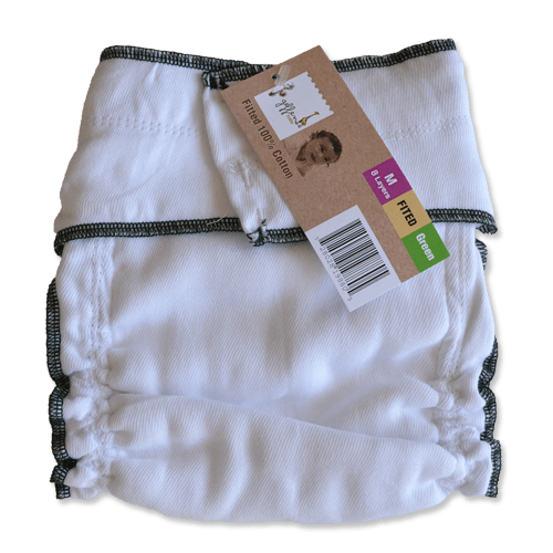 Geffen Cotton Fitted Diapers – Medium (Green Edge) - Happy BeeHinds
