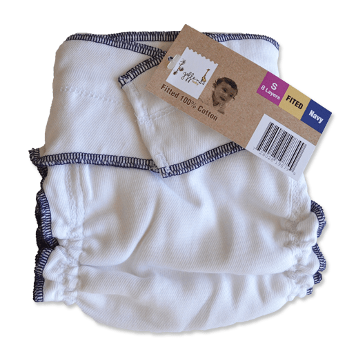 Geffen Cotton Fitted Diapers – Small (Navy Edge) - Happy BeeHinds