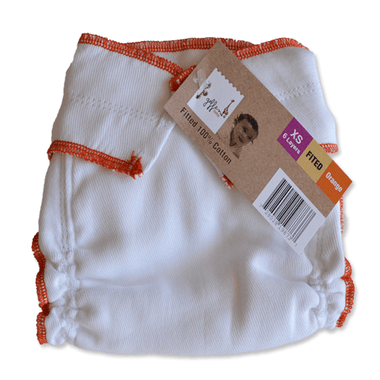 Geffen Cotton Fitted Diapers – XS/Newborn (Orange Edge) - Happy BeeHinds