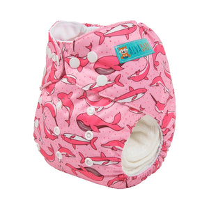 Alva Pocket Diaper - Pink Seaworld - Happy BeeHinds