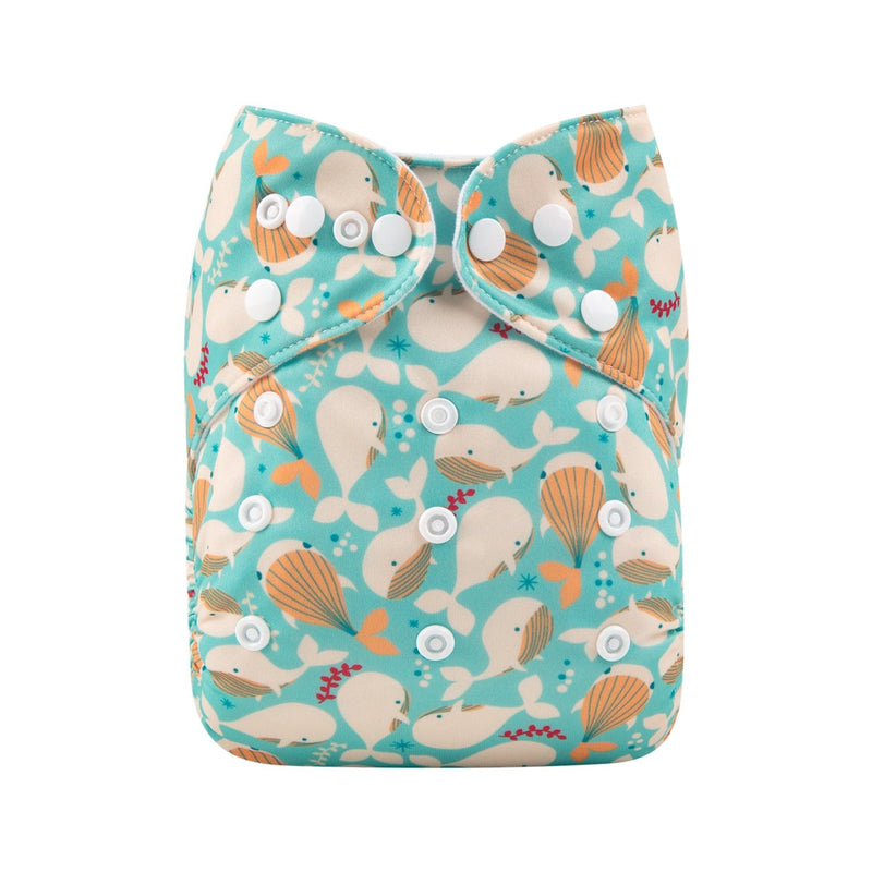 Alva Pocket Diaper - Whales - Happy BeeHinds