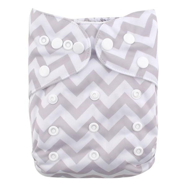 Alva Diaper Cover - Grey Chevron - Happy BeeHinds