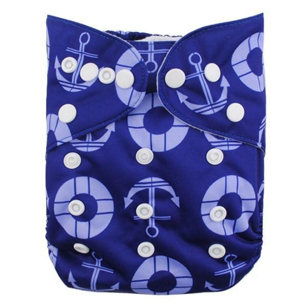 Alva Diaper Cover - Anchors - Happy BeeHinds