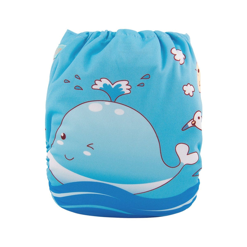 Alva Pocket Diaper - Spouting Whale - Happy BeeHinds