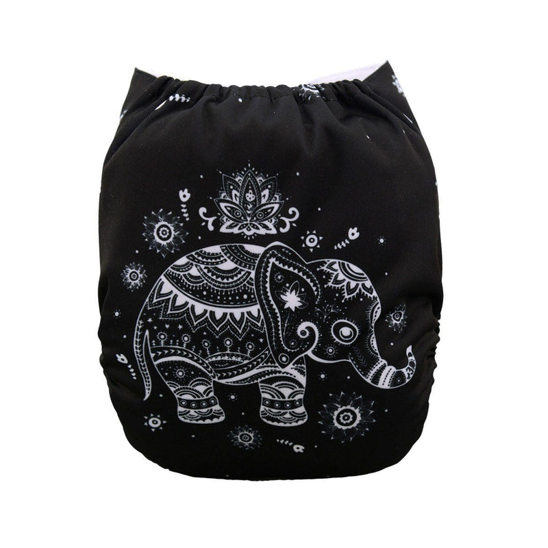 Alva Pocket Diaper - Black & White Elephant - Happy BeeHinds
