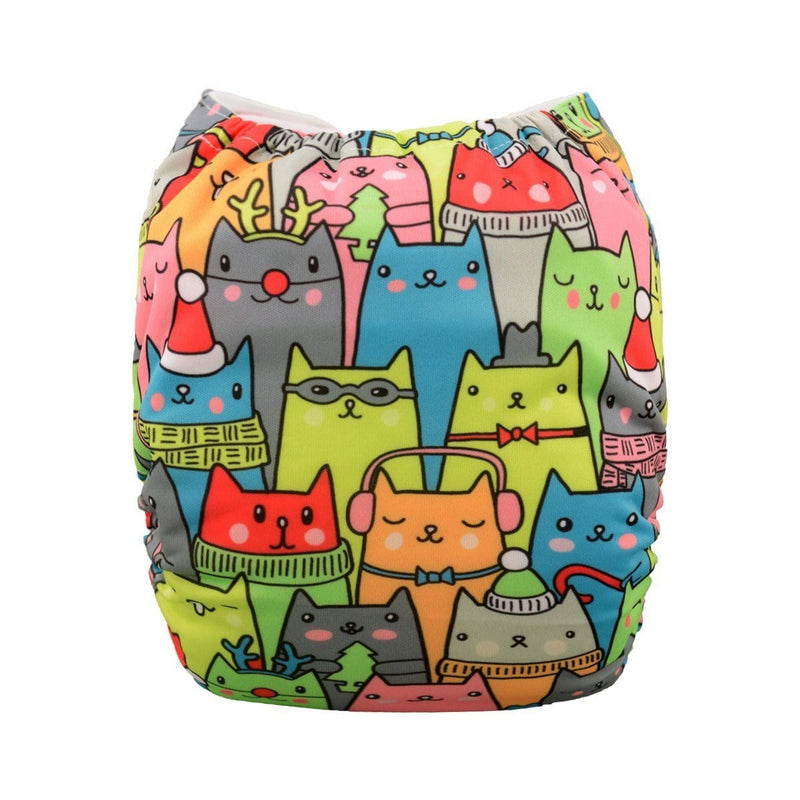Alva Pocket Diaper - Cats - Happy BeeHinds