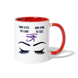 Two to see Contrast Coffee Mug - white/red