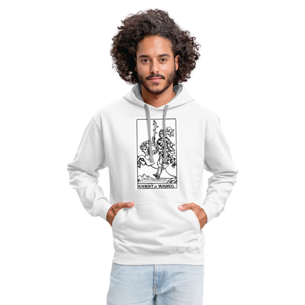 Knight of Wands Unisex Contrast Hoodie - white/gray