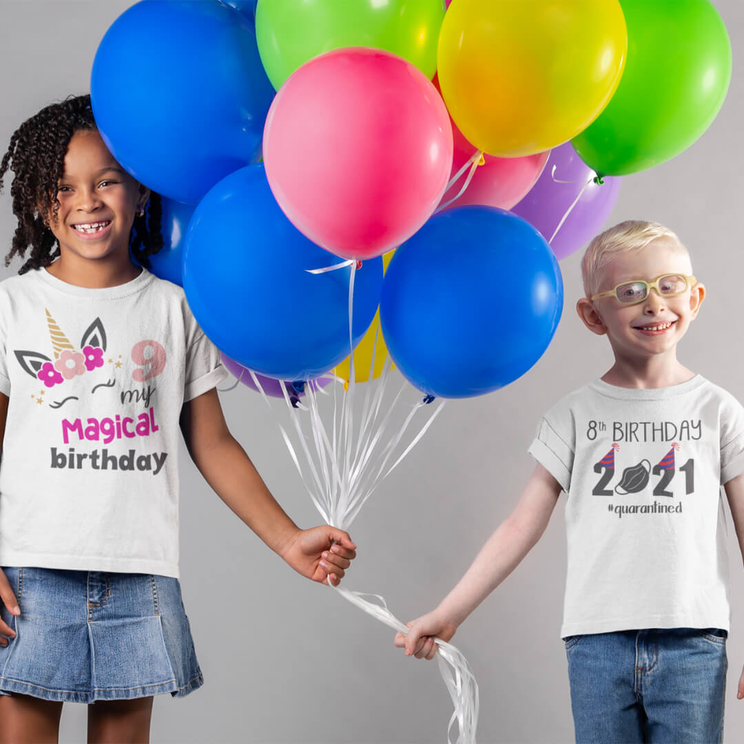 Custom printed birthday t-shirt for childern and adults.