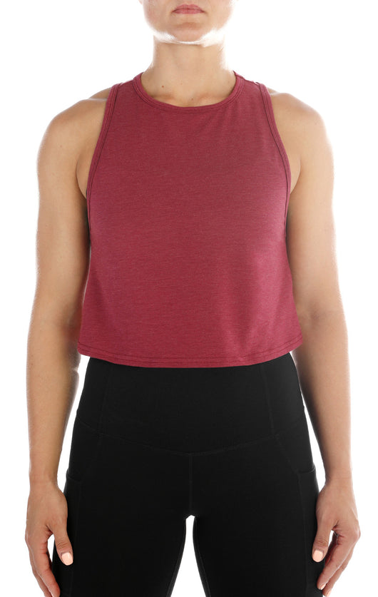 SHINE Luxe Crop Tank- Burgundy