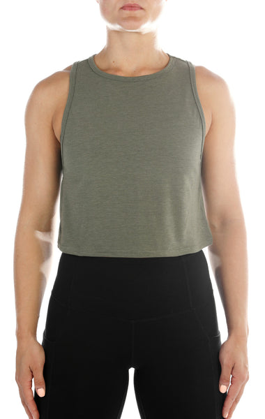 SHINE Luxe Crop Tank- Olive