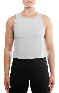 SHINE Luxe Crop Tank- Heather Grey