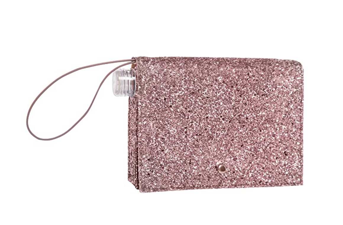 Rose Gold Glitter Flask Clutch by Slant