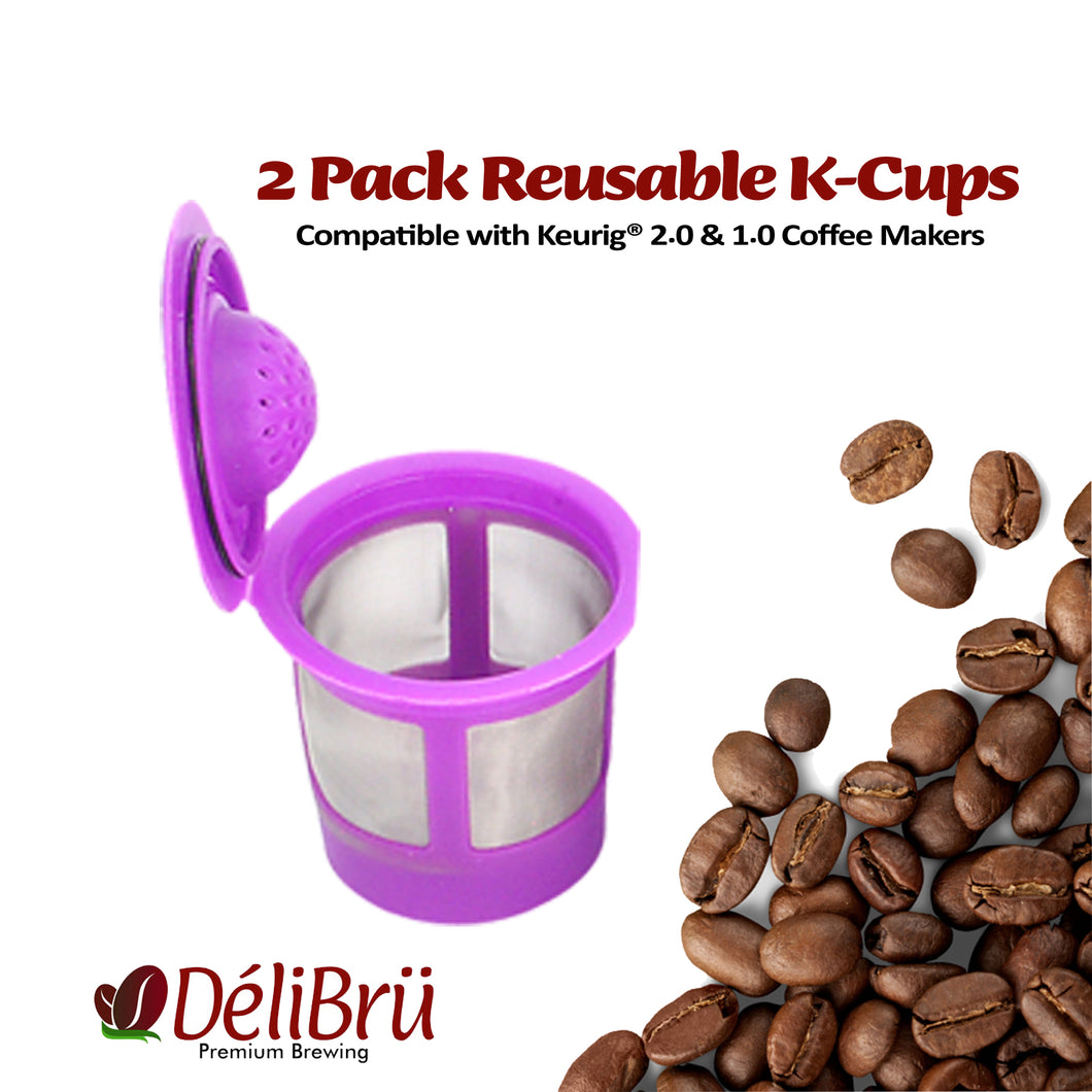 Reusable K Cups for Keurig 2.0 & 1.0 2PACK Coffee Makers. Universal Refillable KCups, Keurig filter, Reusable kcup, k cup k-cups reusable filter by Delibru (2 Pack)