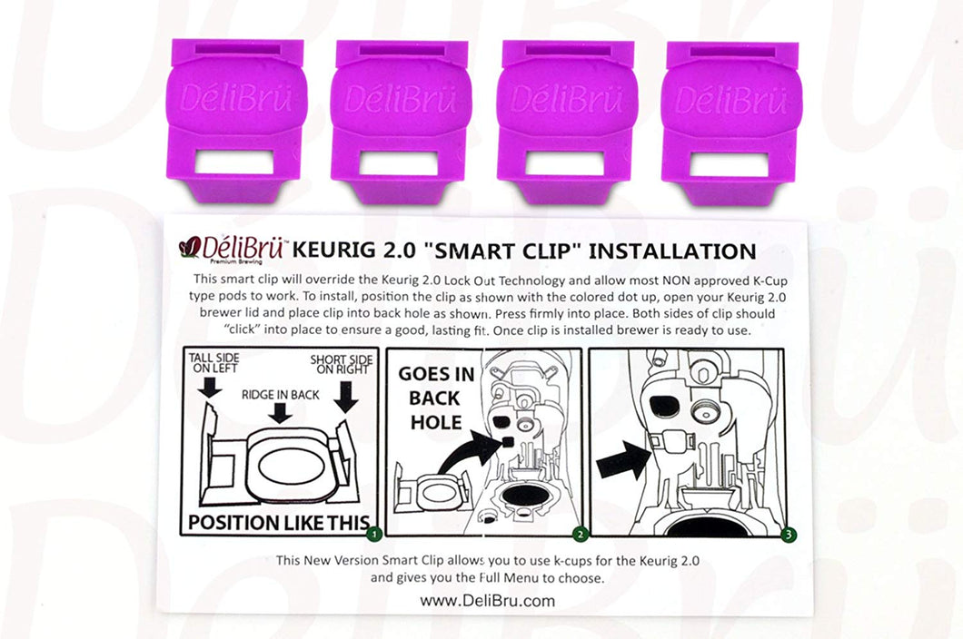 Delibru 4Pack Freedom Clip Smart Clip Brews Any Brand K-Cup Coffee Pods in Keurig 2.0 Coffe Machines