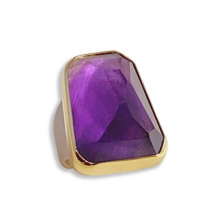 Gold, Silver & Amethyst Ring
