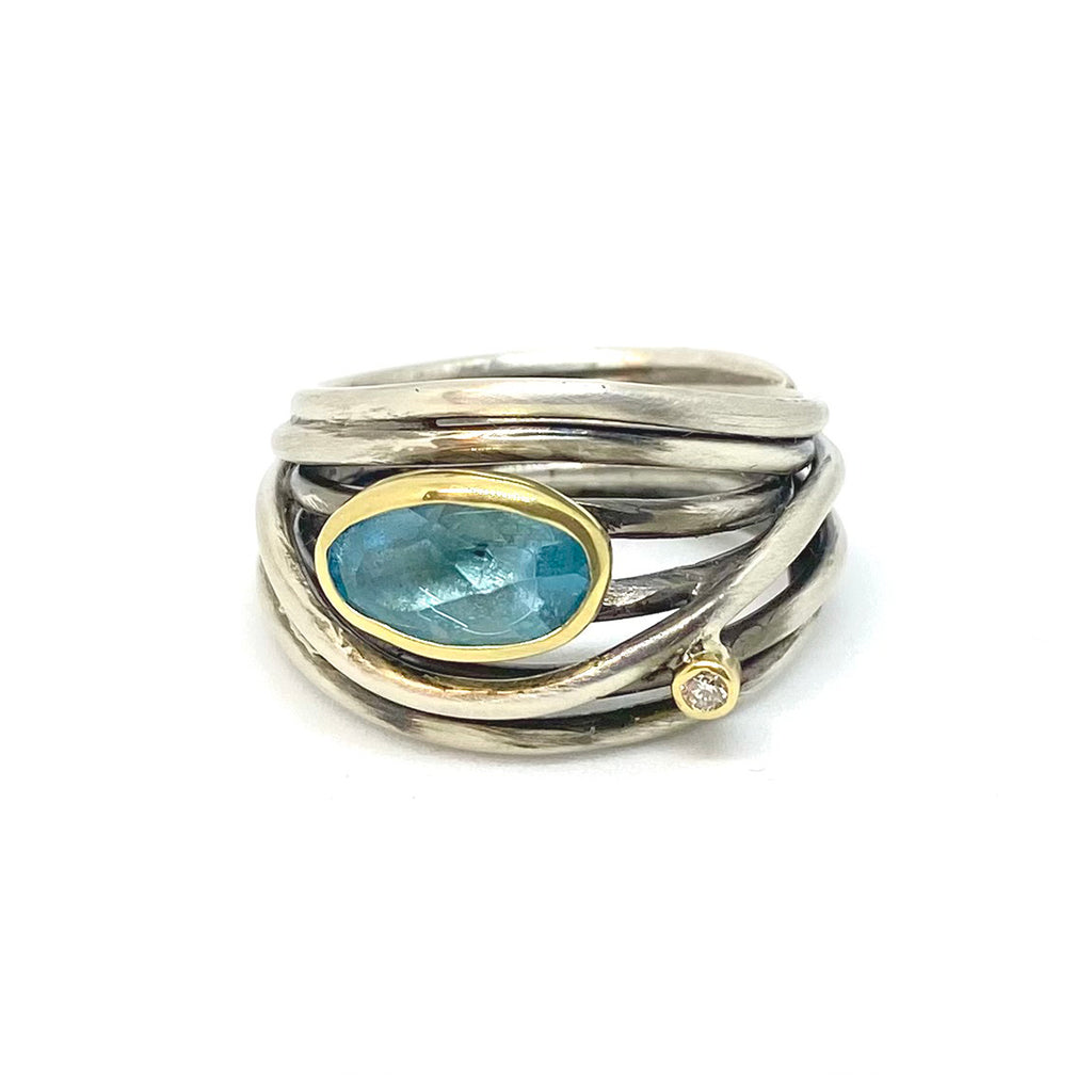 Gold, Silver, Aqua & Diamond Ring