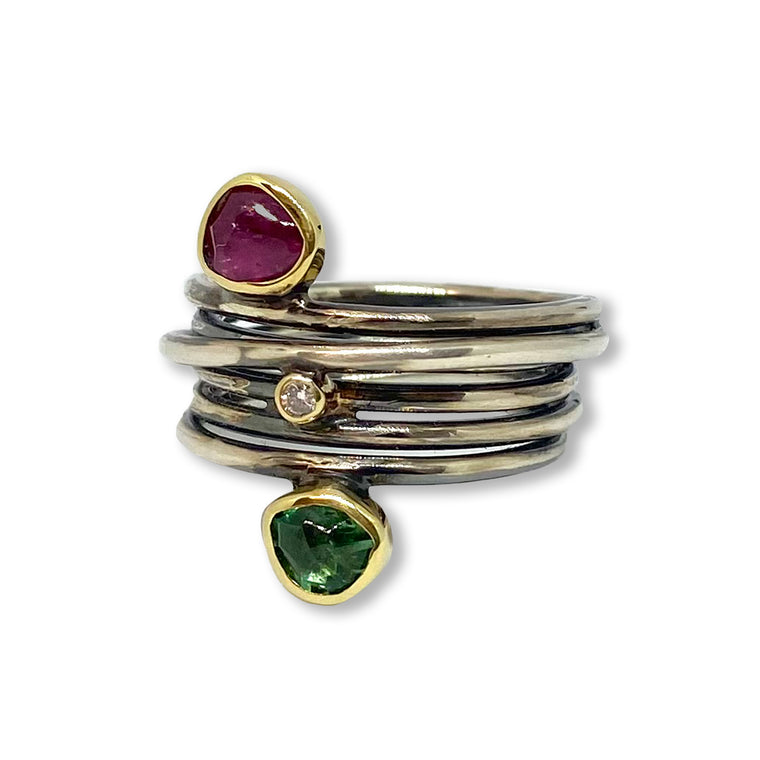 Gold, Silver, Tourmaline & Diamond Ring