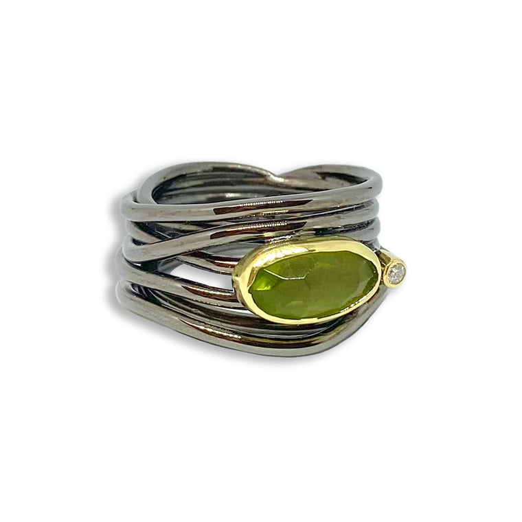 Gold, Silver, Peridot & Diamond Ring