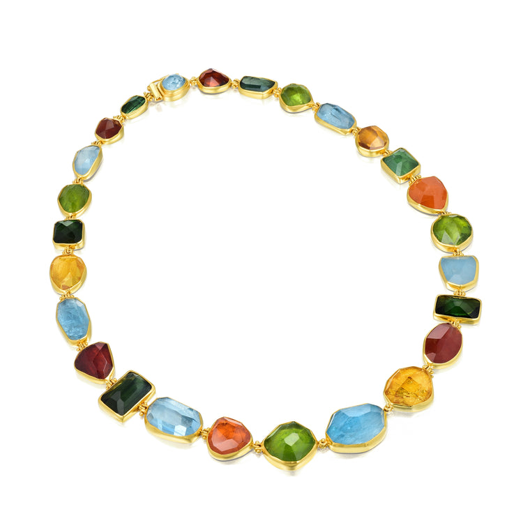 Gold & Color Gems Necklace