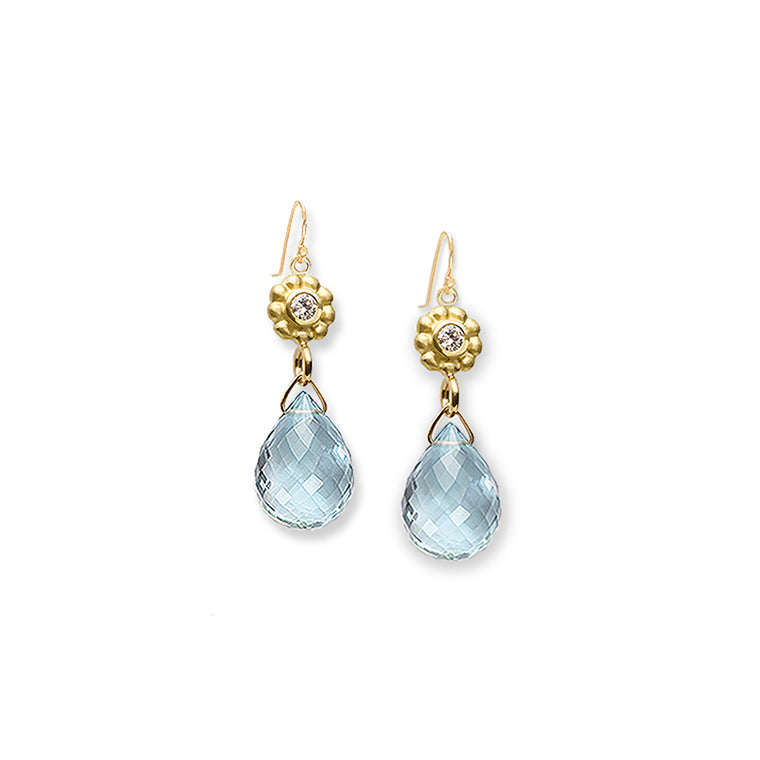 Diamond & Aquamarine Earrings