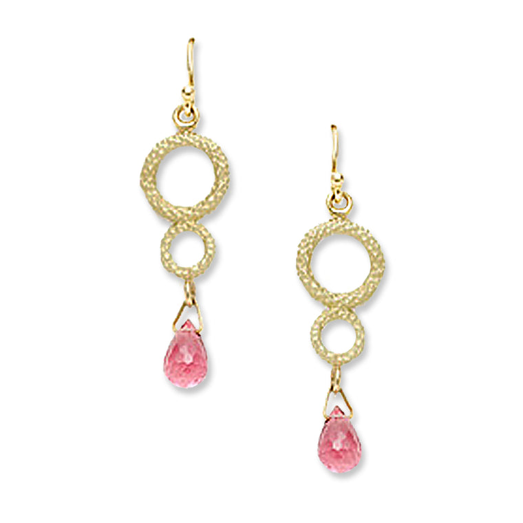 Gold & Pink Tourmaline Earrings