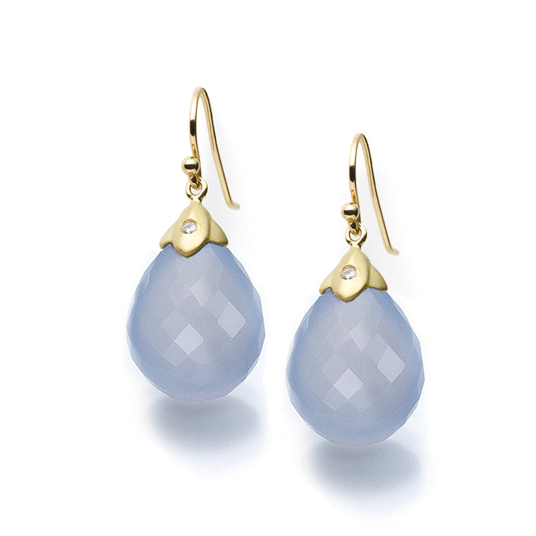 Chalcedony & Diamond Earrings