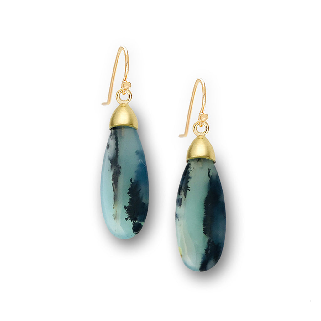 Gold and Peruvian Opal Earrings