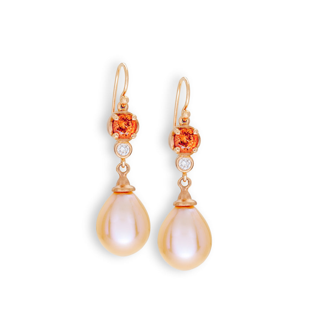 Spessartite, Diamond & Pearl Earrings