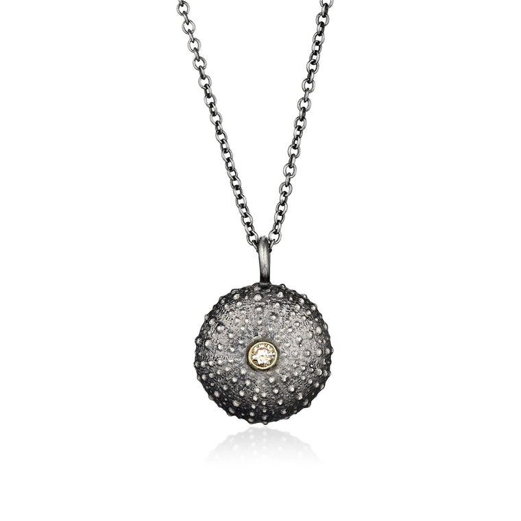 Silver Sea Urchin Necklace with Diamond