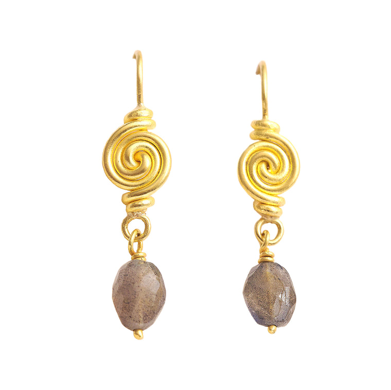 22Kt Gold Spiral Labradorite Earrings