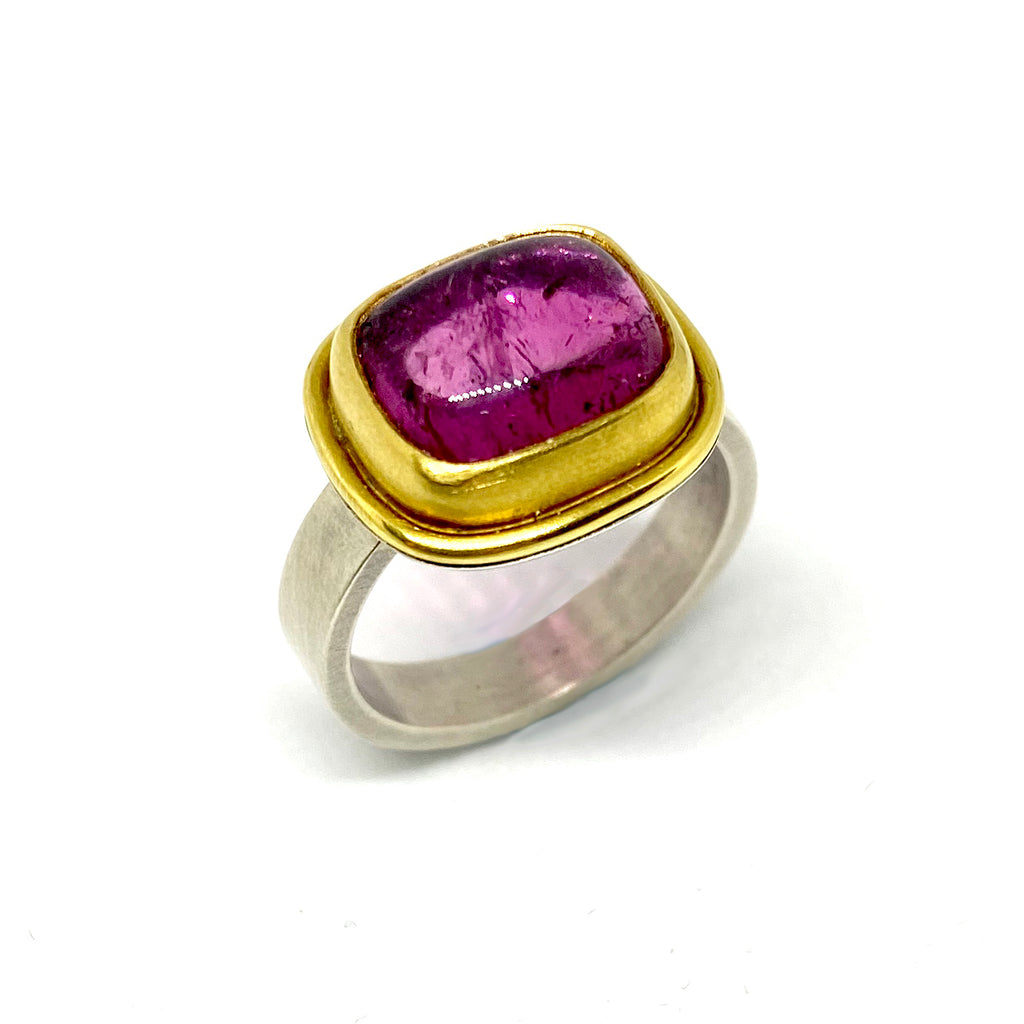 Sterling Silver, Gold & Tourmaline Ring