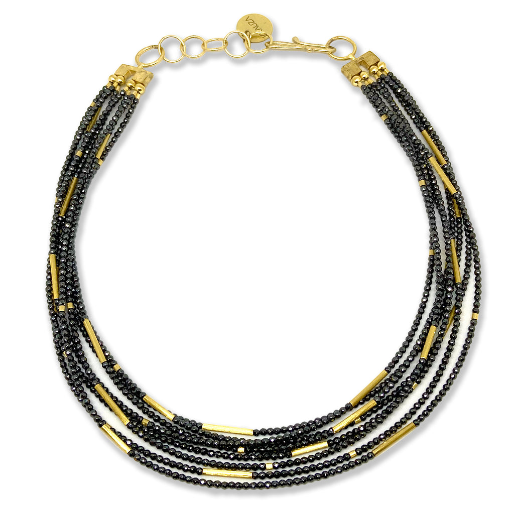 Gold & Hematite Beads Necklace