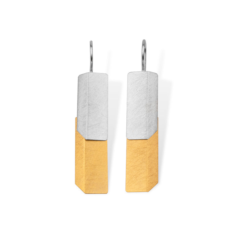Textured Silver Two-Tone Earrings