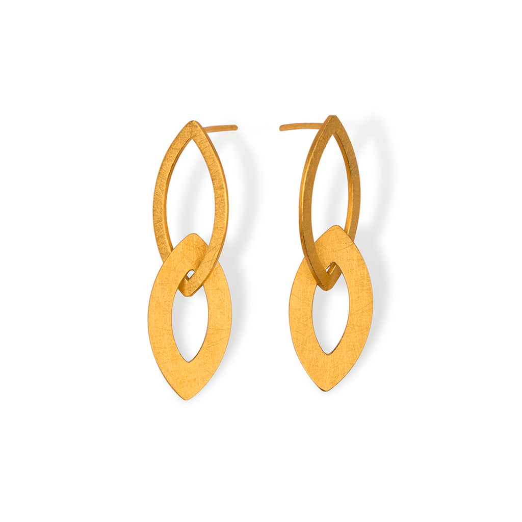 Textured Silver Gold Plated Earrings