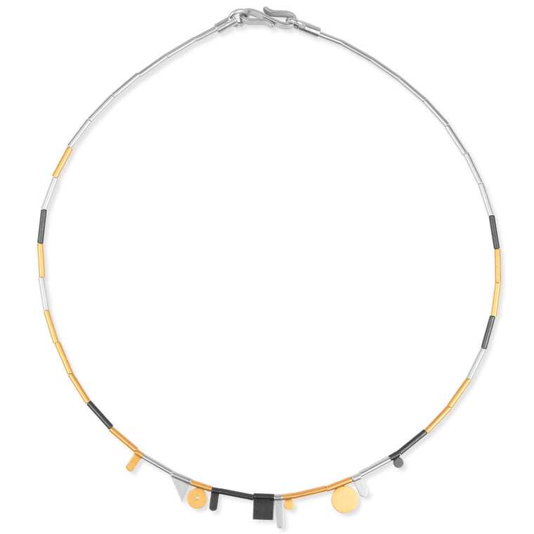 Matte Silver Tri-Color Necklace